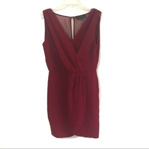 Adelyn Rae deep red V neck wrap style tulip dress